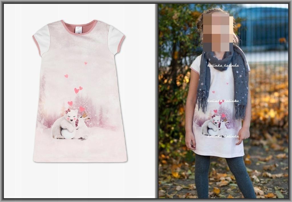 C&A_ różowa cieplutka sukienka z misiem_116