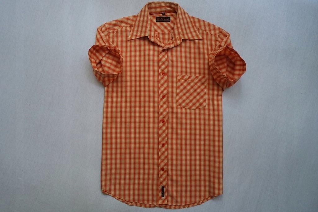 BEN SHERMAN koszula pomarańcz kratka logowana__S/M