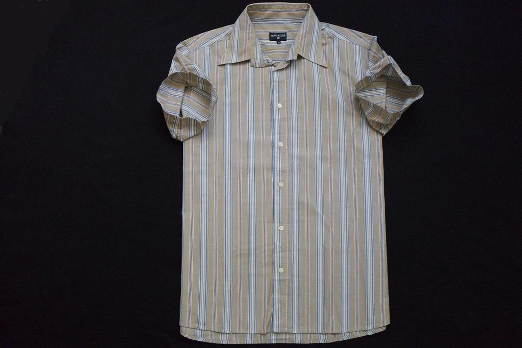 COTTONFIELD koszula brązowa paski logowana_____XXL