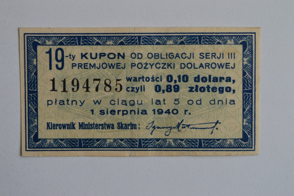 KUPON OD OBLIGACJI SERJI III 1941