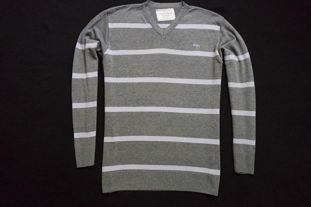 ABERCROMBIE FITCH sweter sweterek szary logowany_M