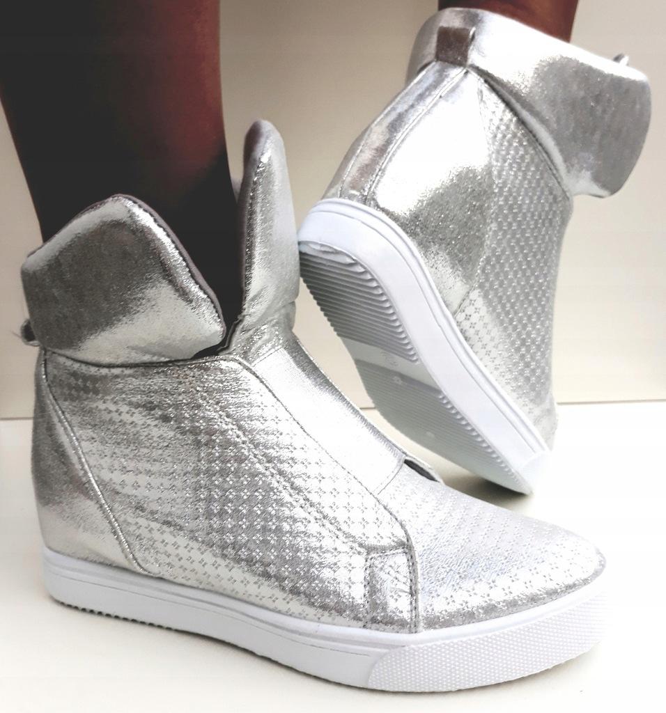 Sneakersy Trampki Botki Damskie Koturny Srebrne Silver 40