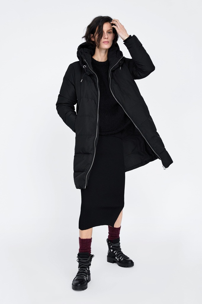 Zara puchowa kurtka płaszcz z kapturem XXL