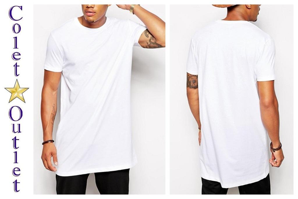 mr72 koszulka T-shirt biały dłuższy długi męski S
