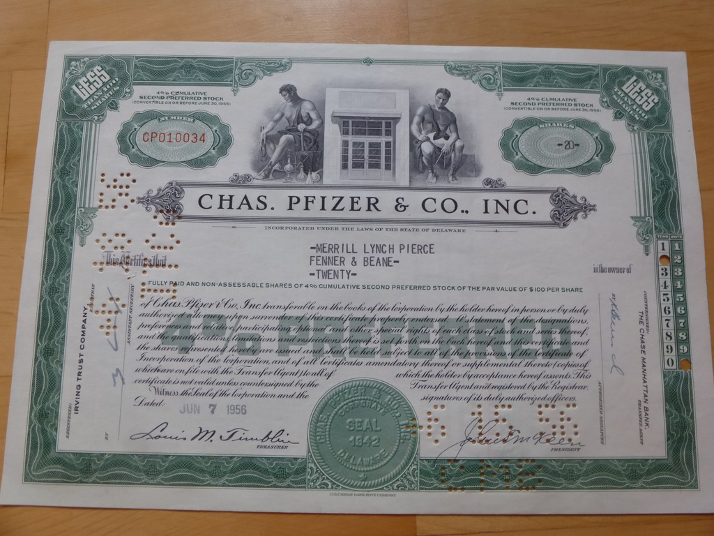 Inc Stock Certificate Chas Pfizer /& CO.