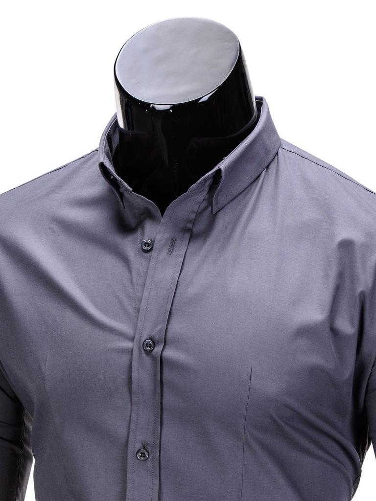 Koszula męska slim fit OMBRE K219 grafitowa L 7115251171  YWedV