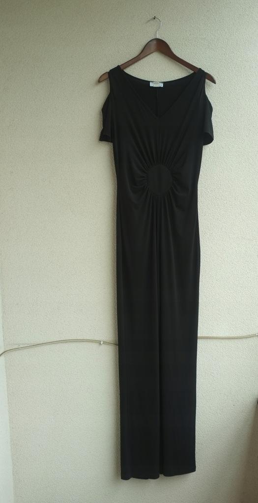 Czarny kombinezon Heine S 36 długi wycięte ramiona
