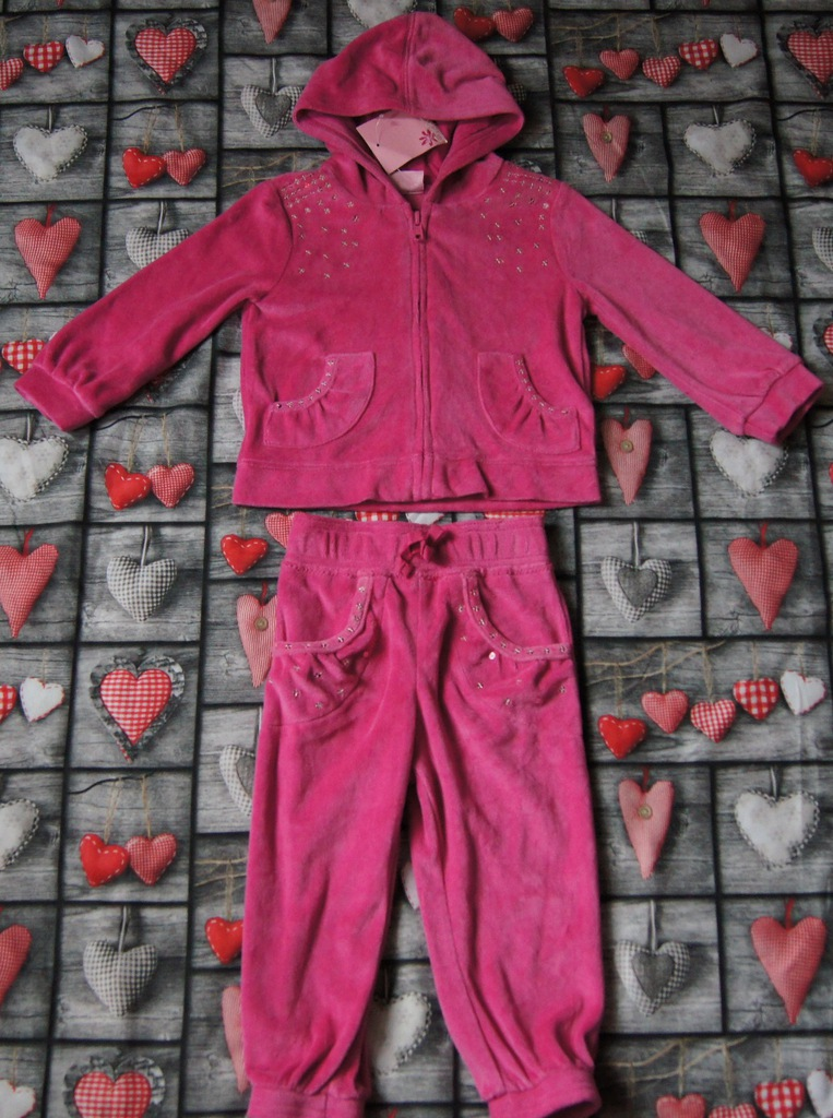 Różowy dres z cekinami CHEROKEE 80-86 cm 12-18 m