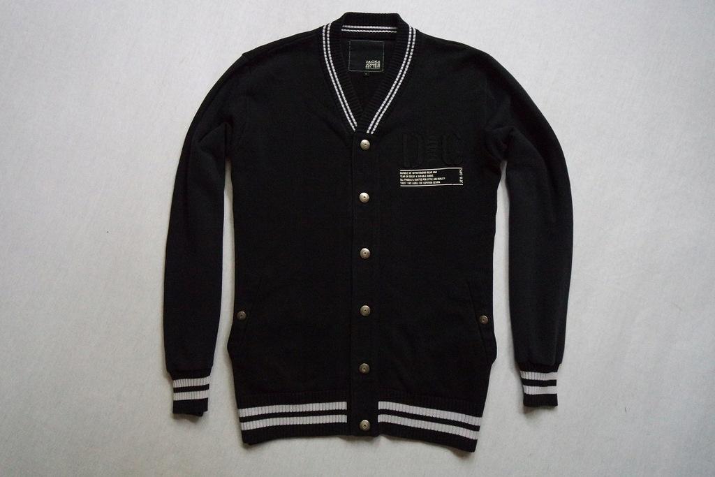 JACK JONES sweter sweterek bluza czarny logowany_L