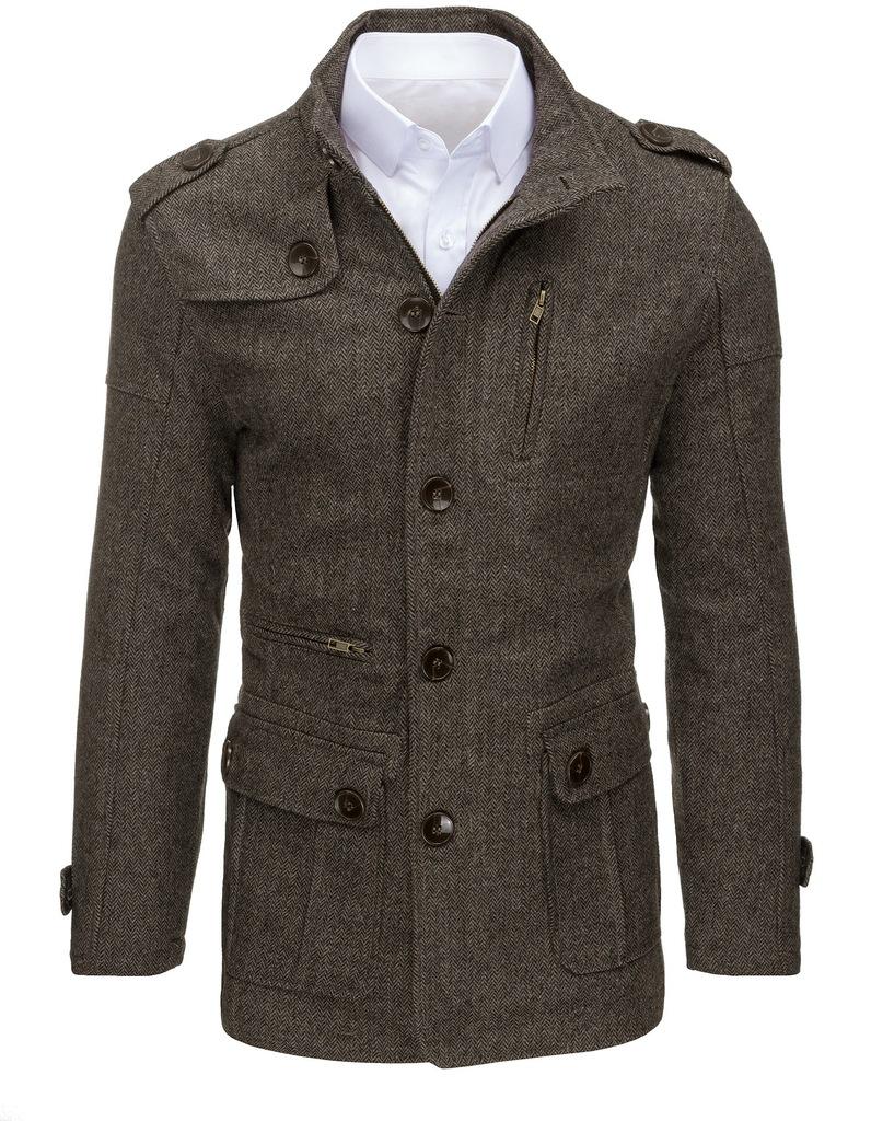 Płaszcz męski w jodełkę dstreet_pl cx0374 l 2 Płaszcz