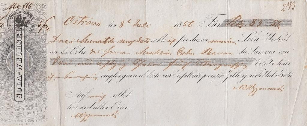 Ostrowo 1856 Weksel unikat