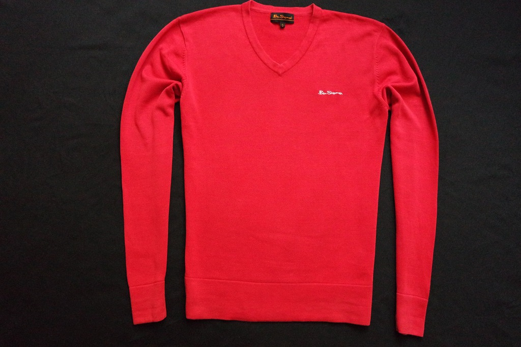 BEN SHERMAN sweter sweterek czerwony logowany____S