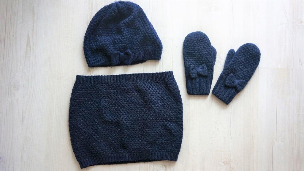 H&M beret rękawiczki komin granat 110-128 4-8