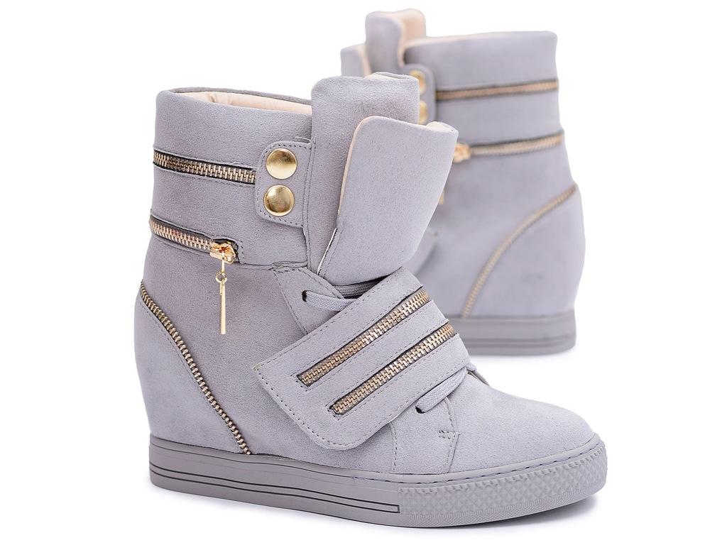 Lu Boo zamszowe beżowe sneakersy na koturnie z suwakami