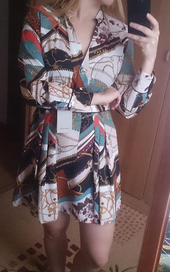 Sukienka patchworkowa w łańcuchy L Zara