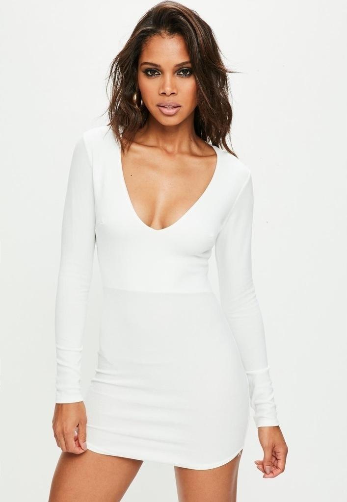 MISSGUIDED Biała obcisła sukienka (32)