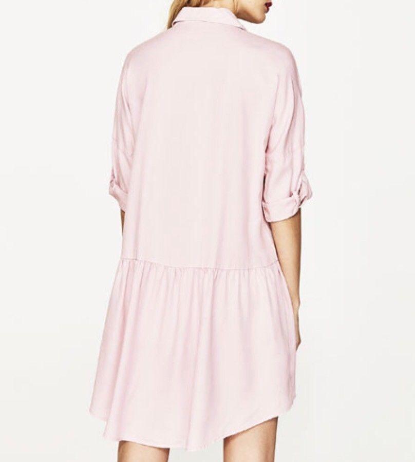 ZARA różowa sukienka koszulowa kieszeń jak nowa XS