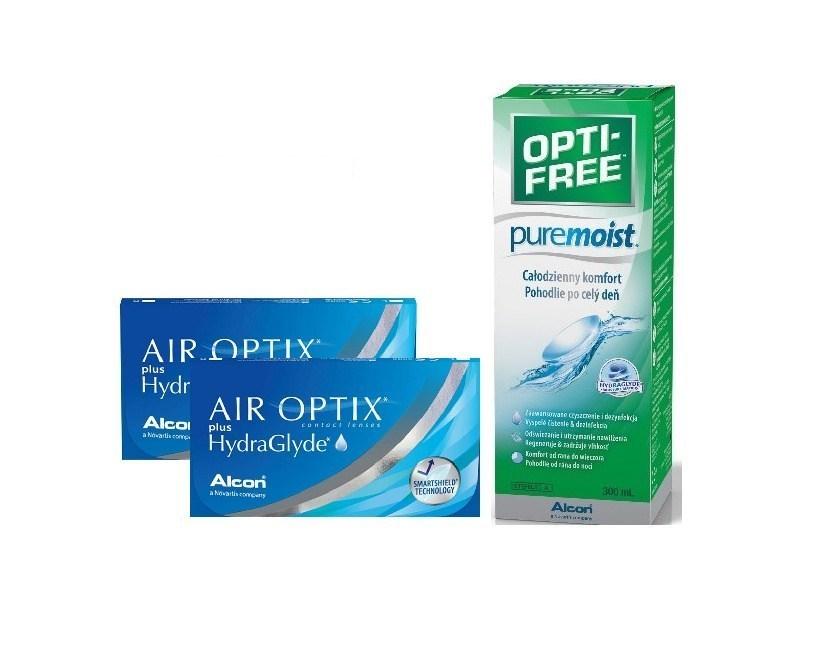 2xAIR OPTIX PLUS HYDRAGLYDE 6 szt.+OPTI-FREE300ml