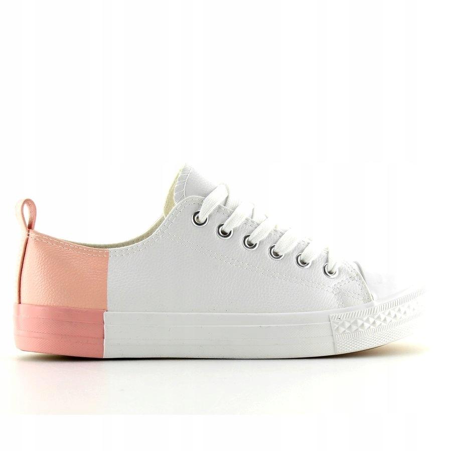 Trampki dwukolorowe białe white bare pink r.40