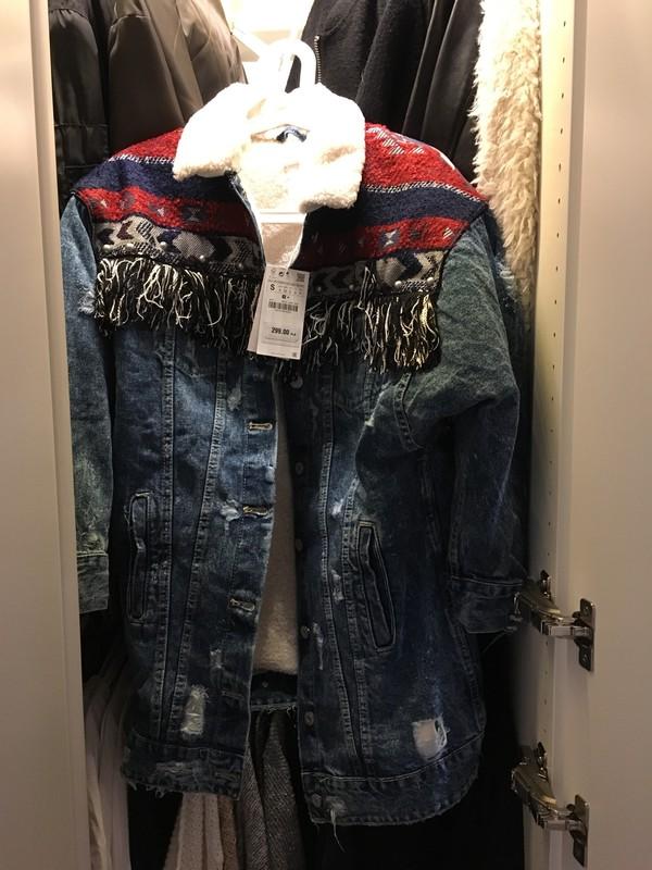 Kurtka jeansowa ocieplana w środku zara s