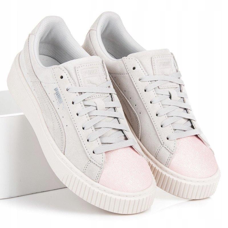 Szare Różowe Skórzane Buty Sportowe Puma r.37,5