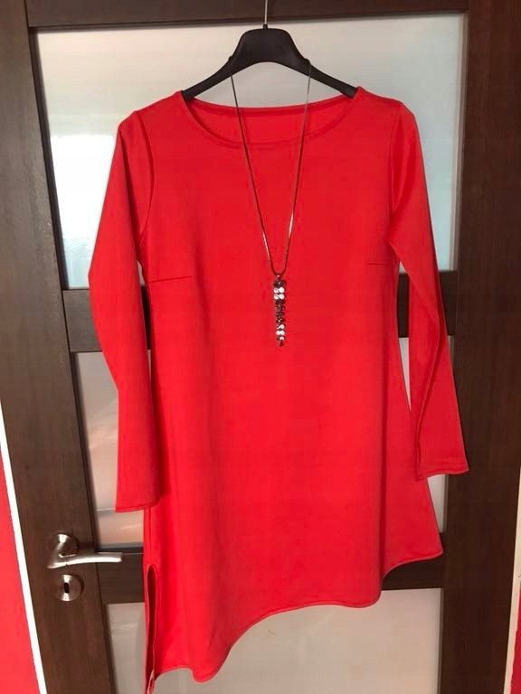 Czerwona sukienka zara M L asymetryczna mango blog
