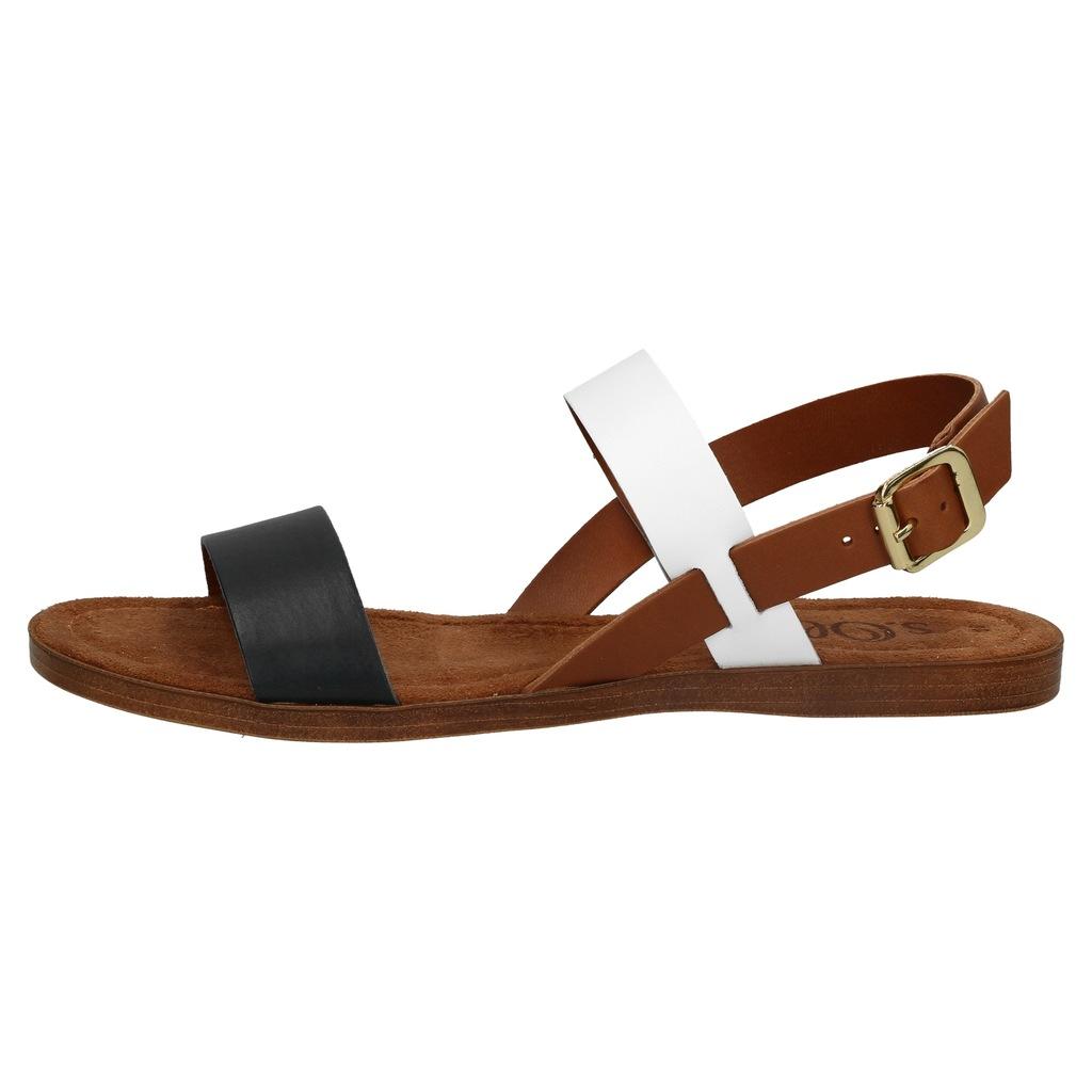 Brązowe sandały damskie S.Oliver skórzane płaskie