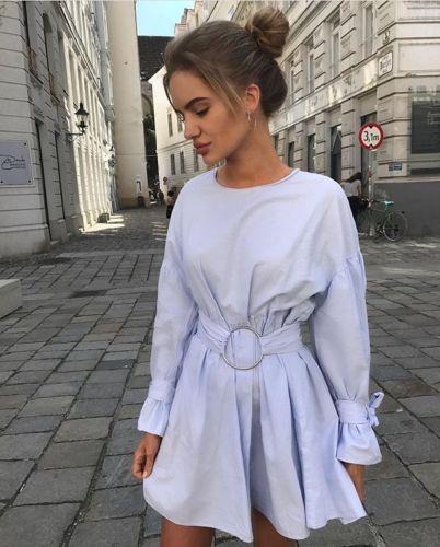 Błękitna Sukienka z Klamrą Popelinowa Zara L