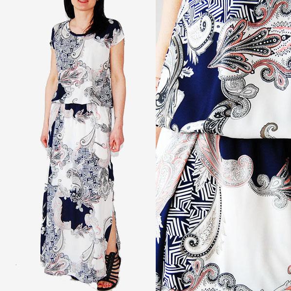 Sukienka z kimonową górą granatowa 2xl
