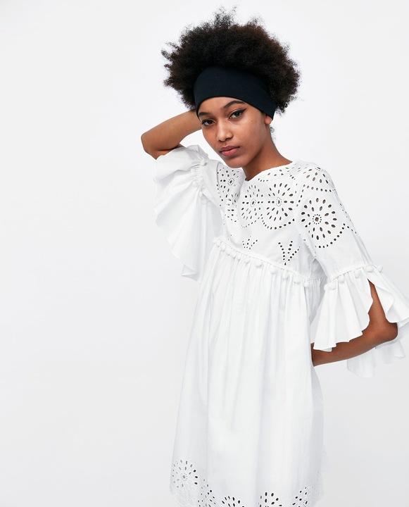 sukienka biała zara haft falbany