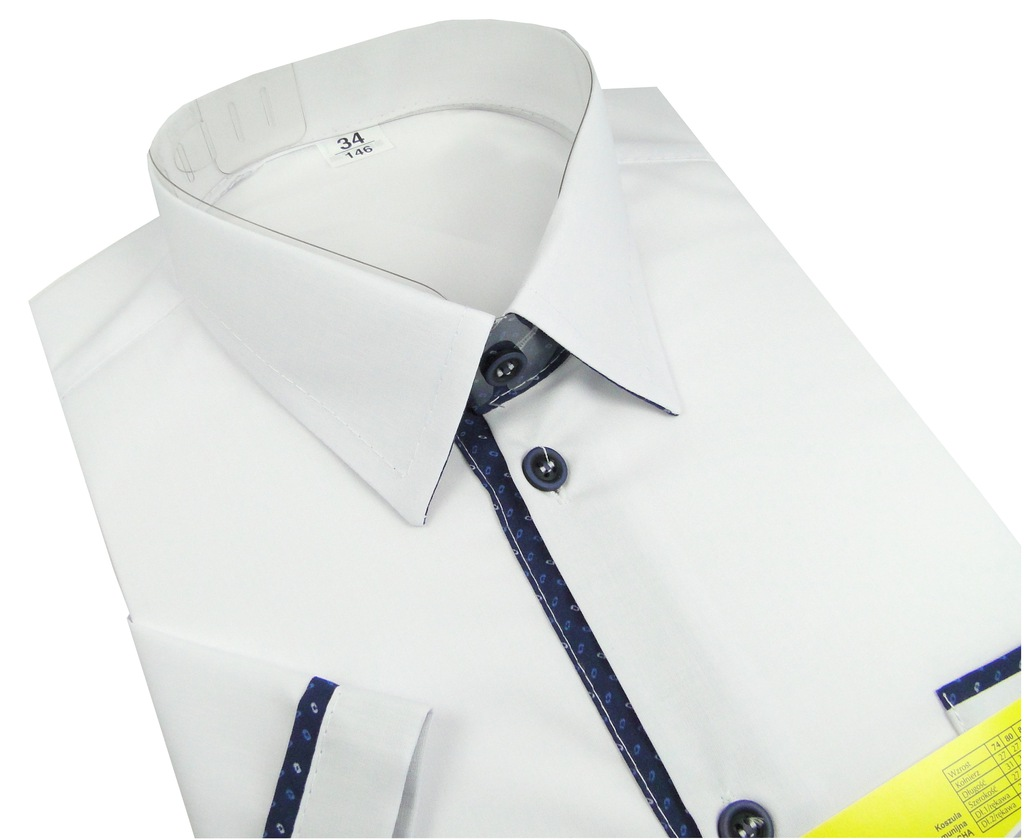 Koszula chłopięca biała polska krótki rękaw 33 140  rSBaa