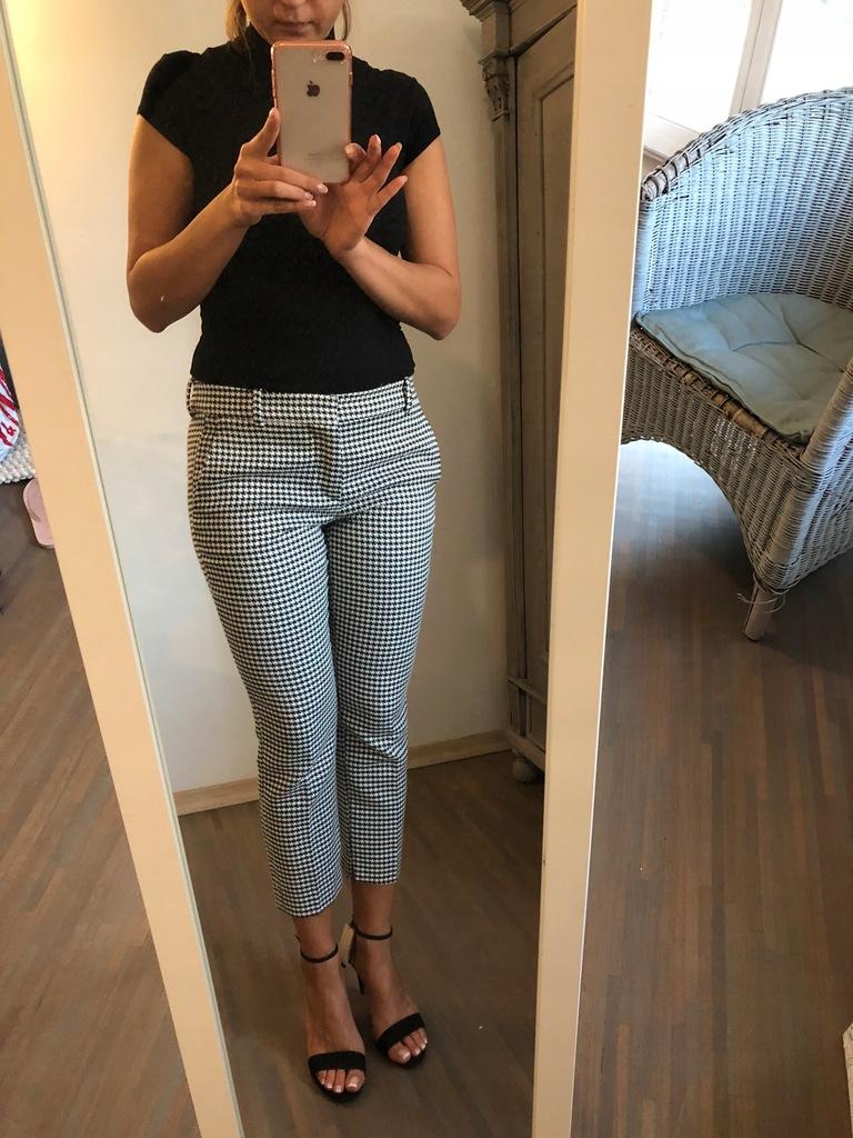 damskie spodnie Cygaretki w kratkę Zara M