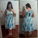 Sukienka wesele pin up retro biała niebieska XL 42 Dekolt inny