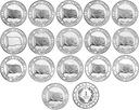 TURCJA zestaw 16 monet Flagi(narody) średnica 32mm