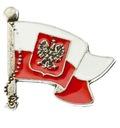 Przypinka biało czerwona bandera z orłem