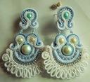 Kolczyki sutasz ślub perły białe błękit