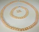 Naszyjnik, bransoletka, kolczyki nat. perły różowe