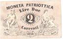 Włochy 2 LIRY, DUE LIRE 1848! Moneta Patriottica