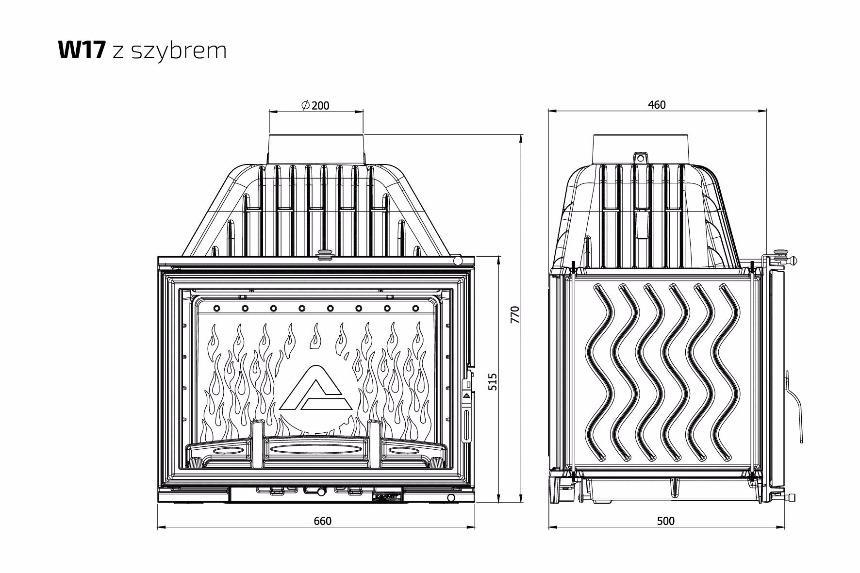 Wkład kominkowy KOMPAKT W 17 PREMIUM 16kW - SPEŁNIAJĄCY EKO NORMY -z szybrem, doprowadzenie powietrza,