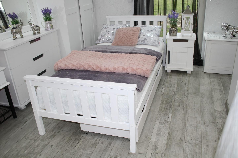 łóżko Drewniane Sosnowe Iza 90x200 Białematerac