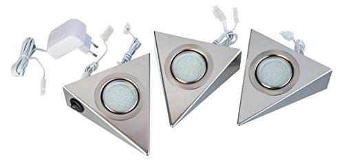 Zestaw 3 Lampki Podszafkowe Trójkąty Kuchenne Led