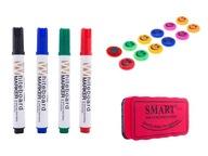 Zestaw do tablic : 12x magnes + 4 markery + gąbka