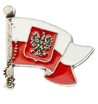 Застежка бело-красный флаг с орлом доставка товаров из Польши и Allegro на русском