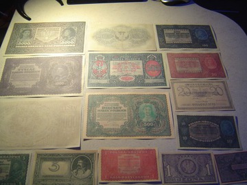 MARKI POLSKIE - zestaw 15 banknotów 1919-20 rok доставка товаров из Польши и Allegro на русском