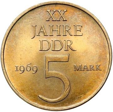 ГДР - 5 марок 1969 г. - 20 ЛЕТ ГДР - MENNICZA UNC доставка товаров из Польши и Allegro на русском