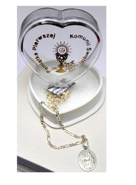 Silver Communion PR.925 Chain Medal Box