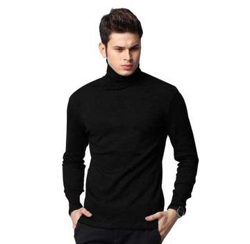 Elegancki golf sweter męski AREK swetry M czarny