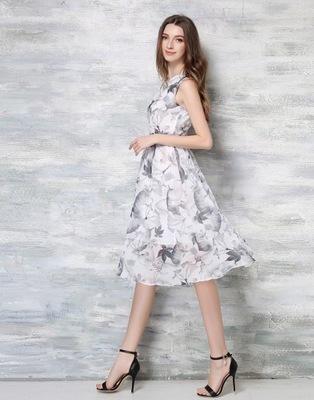 e8107525e6 Sukienka koktajlowa pasek midi kwiaty szara XXL 44 7618218214 ...