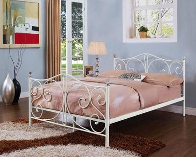 кровать белое металлические с держателем 140х200 кристалл