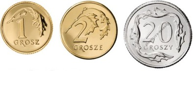 1,2,20 gr rocznik 1997 r komplet 3 monet